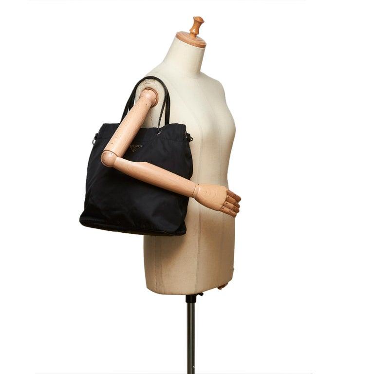 Prada Black Nylon Tote Bag For Sale 4