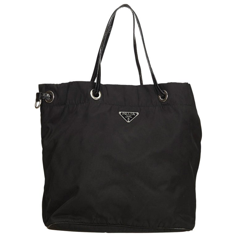 Prada Black Nylon Tote Bag For Sale