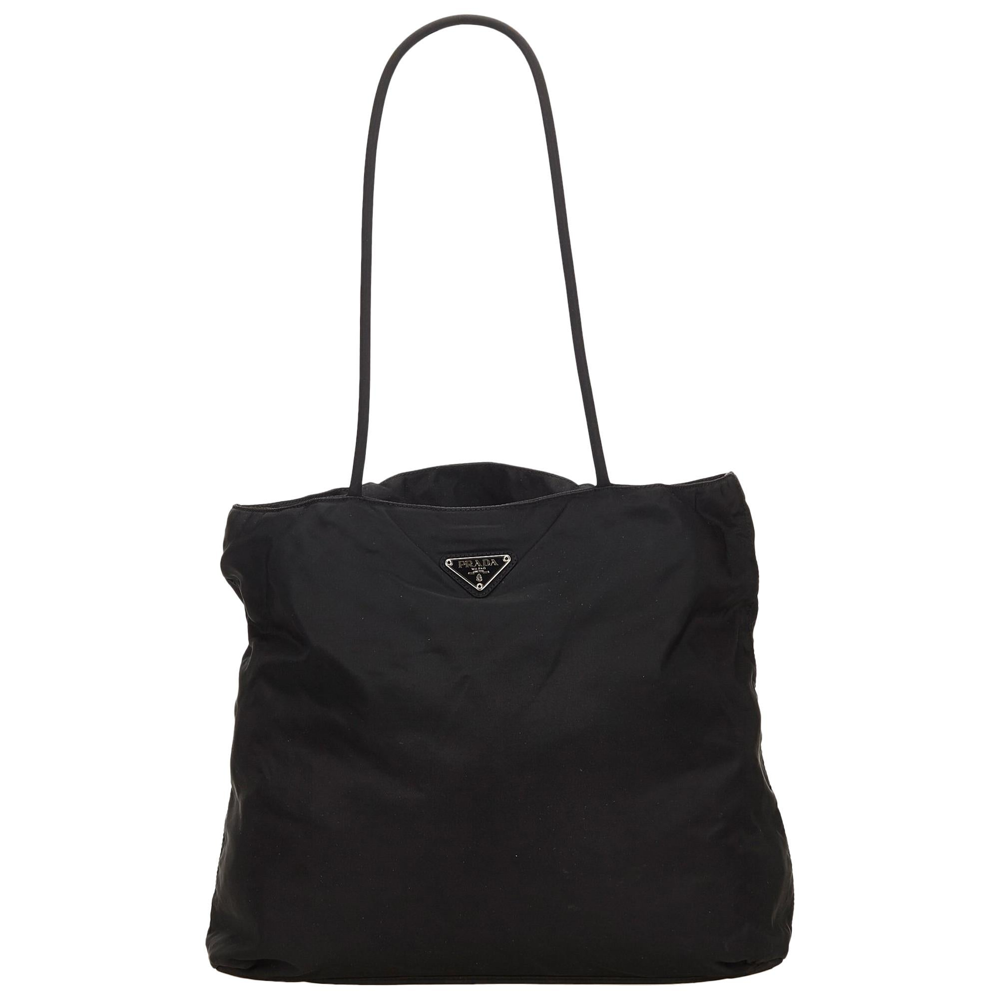 f75b23838c inexpensive prada tote in black e25f0 8d669  reduced prada black nylon tote  bag for sale 54dfc f065f
