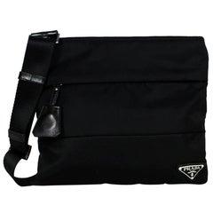 Prada Black Nylon Vertical Quilted Flat Messenger Bag w/ Clochette
