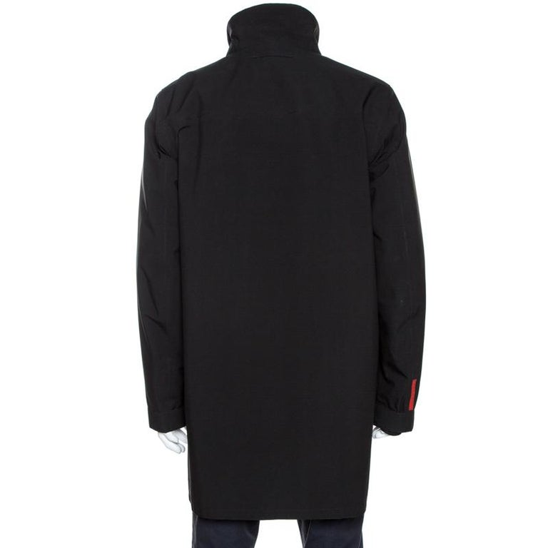 Offering a stylish approach to casual fashion, you can add this jacket from Prada. It is designed to offer both comfort and style in the most effortless way. It features long sleeves and a full front zipper. This black creation will come in handy on