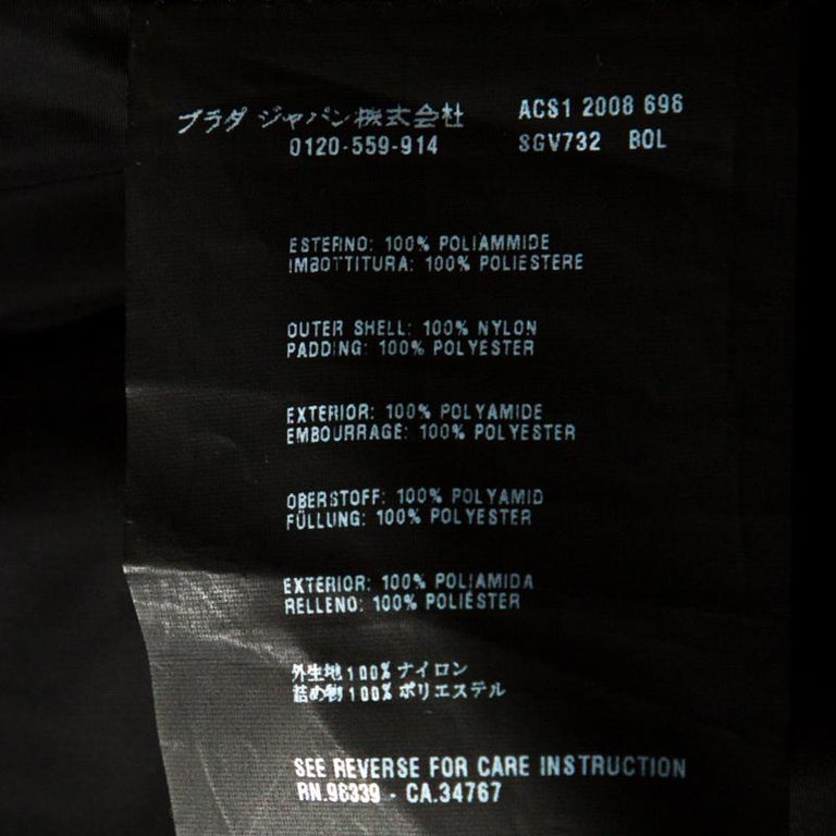 Prada Black Nylon Zip Front Jacket XXL For Sale 1