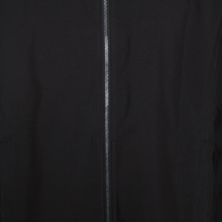 Prada Black Nylon Zip Front Jacket XXL For Sale 2