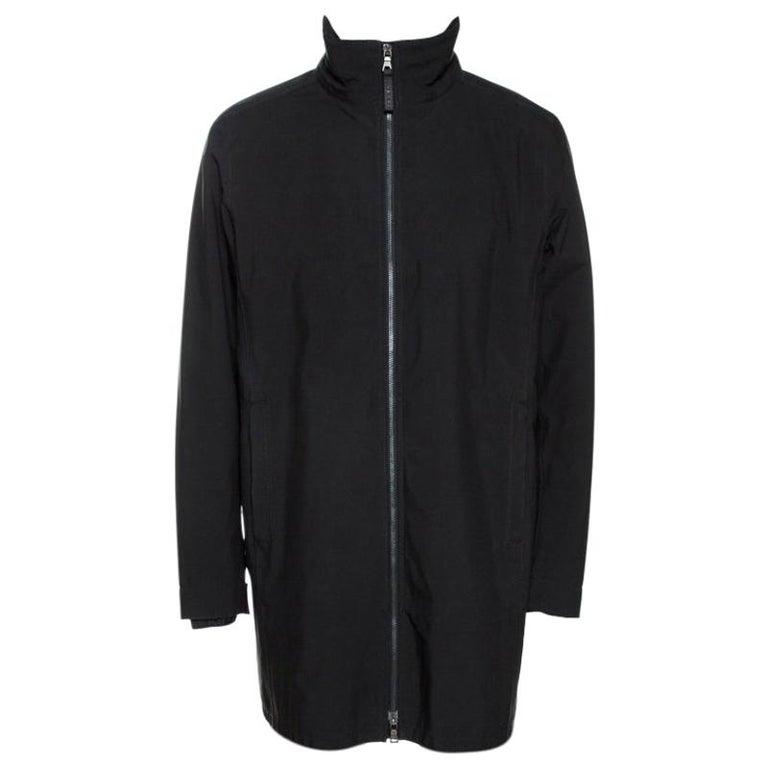 Prada Black Nylon Zip Front Jacket XXL For Sale
