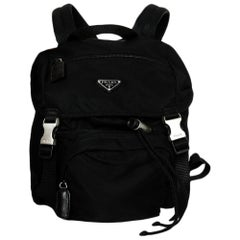 Prada Black Nylon Zip Pocket Backpack with Double Buckle Closure