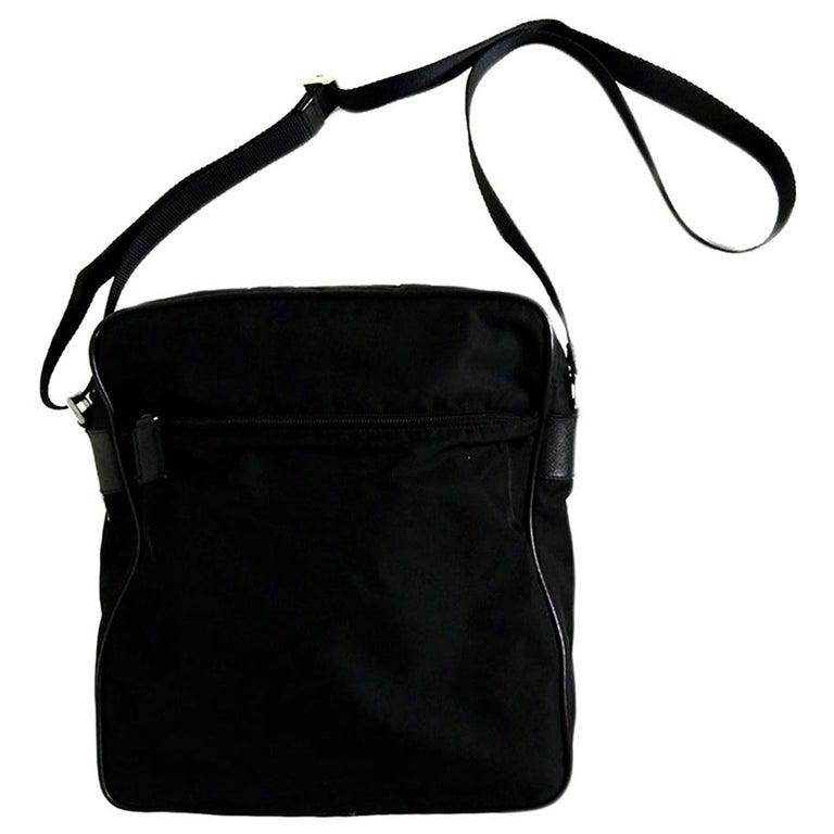 Prada Black Nylon Zip Top Messenger Bag For Sale
