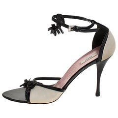 Prada Black/Off White Leather Floral Embellished Ankle Strap Sandals Size 39