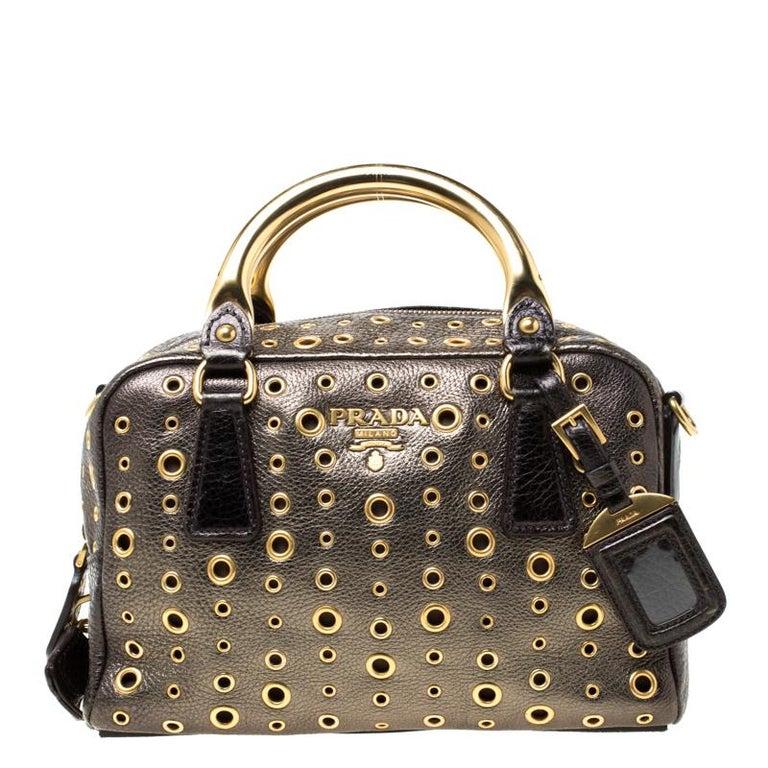 Women's Prada Black/Olive Green Leather Grommet Bauletto Bag For Sale
