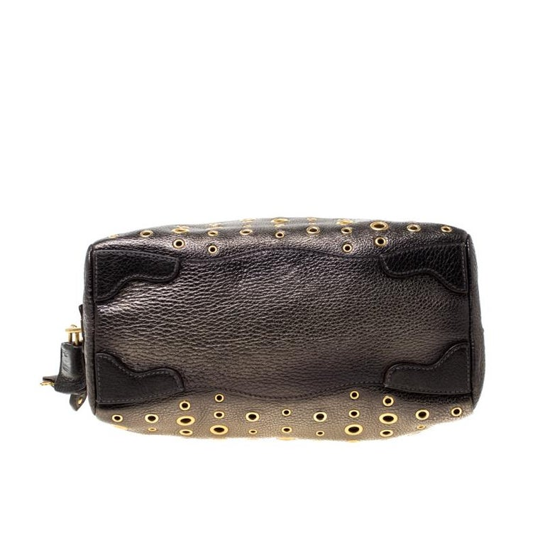 Prada Black/Olive Green Leather Grommet Bauletto Bag For Sale 1