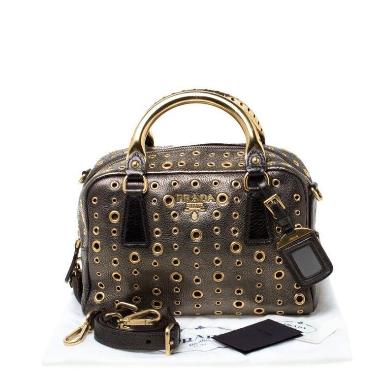 Prada Black/Olive Green Leather Grommet Bauletto Bag For Sale 2