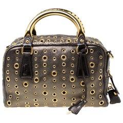 Prada Black/Olive Green Leather Grommet Bauletto Bag