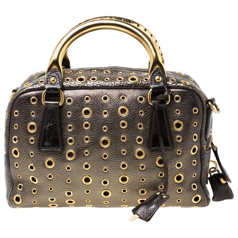 Prada Black/Olive Green Leather Grommet Bauletto Bag For Sale
