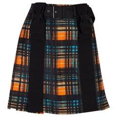 PRADA black orange blue wool & silk PLAID BELTED PLEATED Skirt 42 M