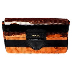 Prada Black/Orange Stripe Sequins Righe Clutch