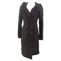 Prada black organza fur trench coat