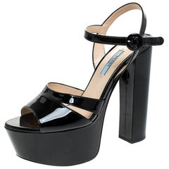 Prada Black Patent Leather Ankle Strap Block Heel Platform Sandals Size 38