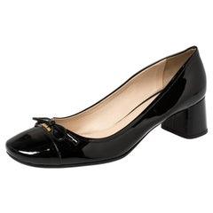Prada Black Patent Leather Bow Block Heel Pumps Size 39