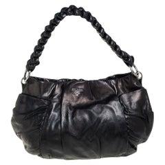 Prada Black Patent Leather Braided Handle Hobo