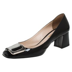 Prada Black Patent Leather Buckle Detail Block Heel Pumps Size 37