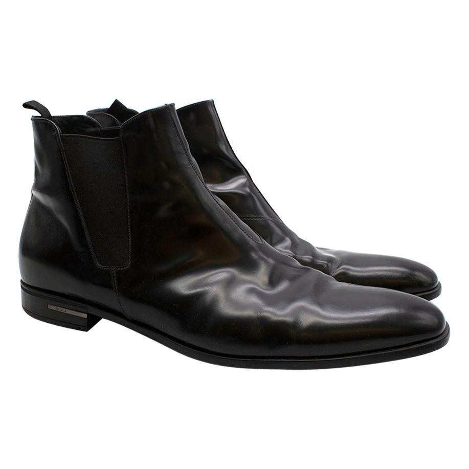 Prada Black Patent Leather Chelsea Boots 45