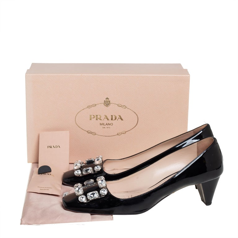 Prada Black Patent Leather Crystal Buckle Pumps Size 40 For Sale 4