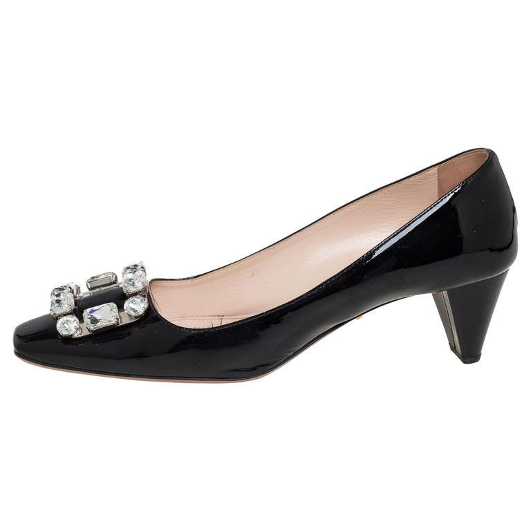 Prada Black Patent Leather Crystal Buckle Pumps Size 40 For Sale
