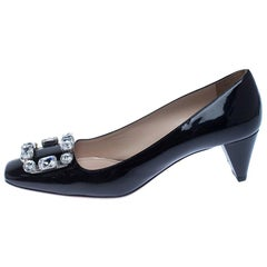 Prada Black Patent Leather Embellished Square Toe Pumps Size 37.5