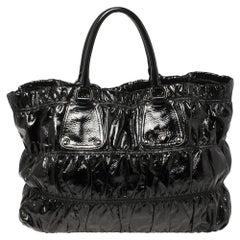 Prada Black Patent Leather Gathered Tote