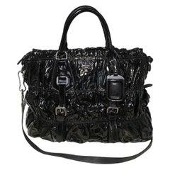 Prada Black Patent Leather Gaufre Ruched Shoulder Bag Tote