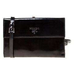 Prada Black Patent Leather Kisslock Sling Wallet
