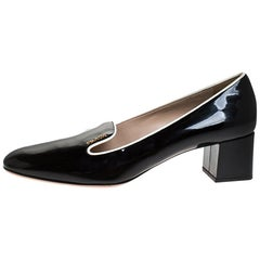 Prada Black Patent Leather Loafer Block Heel Pumps Size 39