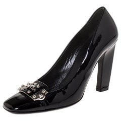 Prada Black Patent Leather Logo Detail Pumps Size 38