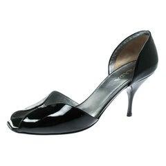Prada Black Patent Leather Open Toe D'orsay Pumps Size 40