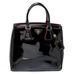 Prada Black Patent Leather Parabole Tote