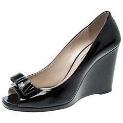 Prada Black Patent Leather Peep Toe Bow Wedge Pumps Size 41