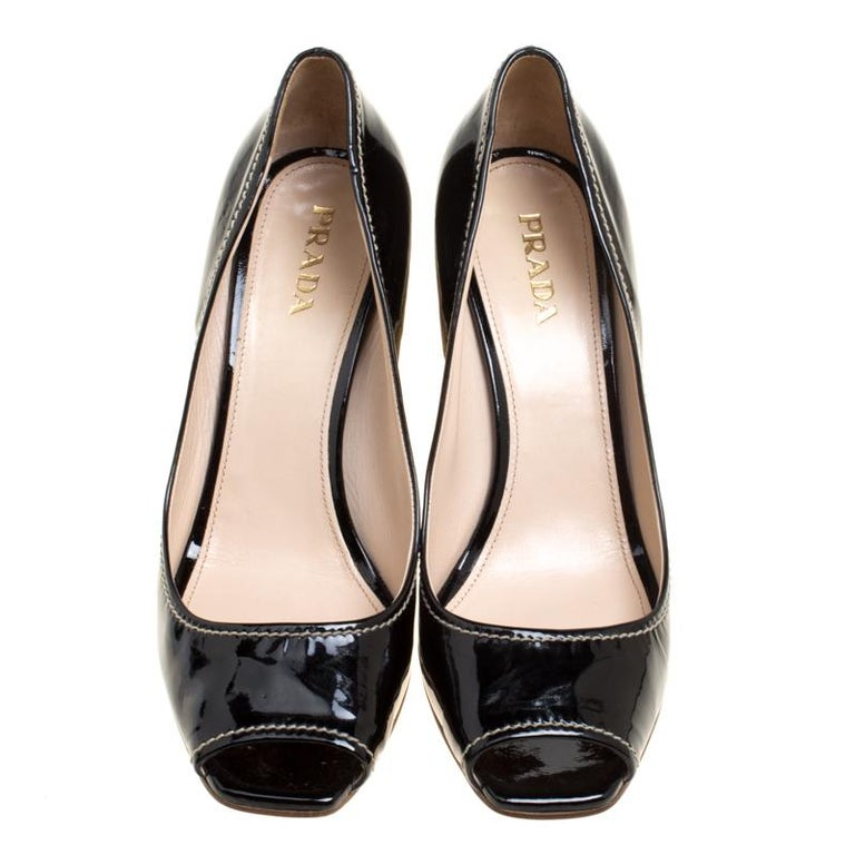 b06b1b0d918 Prada Black Patent Leather Peep Toe Espadrille Wedge Pumps Size 39.5