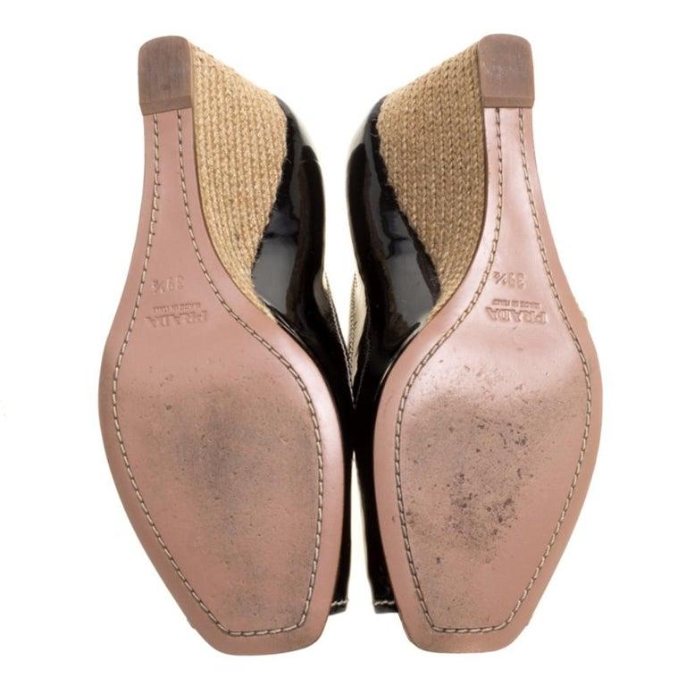 Prada Black Patent Leather Peep Toe Espadrille Wedge Pumps Size 39.5 For Sale 2