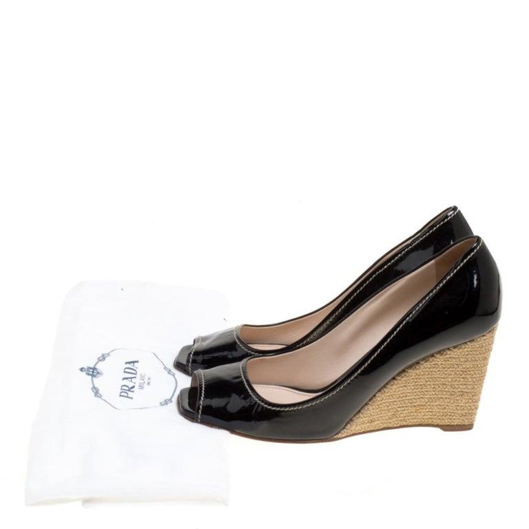 Prada Black Patent Leather Peep Toe Espadrille Wedge Pumps Size 39.5 For Sale 4