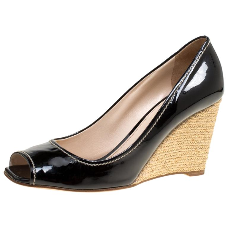 425182f8e46c Prada Black Patent Leather Peep Toe Espadrille Wedge Pumps Size 39.5 For  Sale at 1stdibs