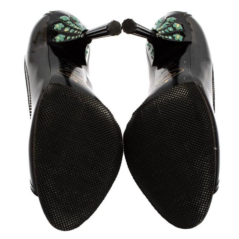 Prada Black Patent Leather Peep Toe Pumps Size 36.5 For Sale 1