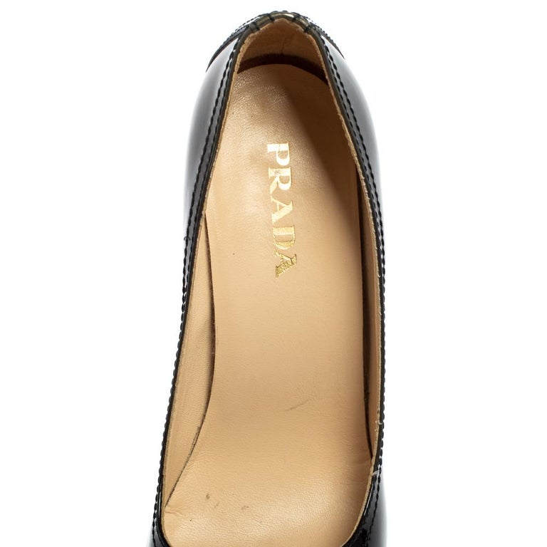 Prada Black Patent Leather Peep Toe Pumps Size 36.5 For Sale 2