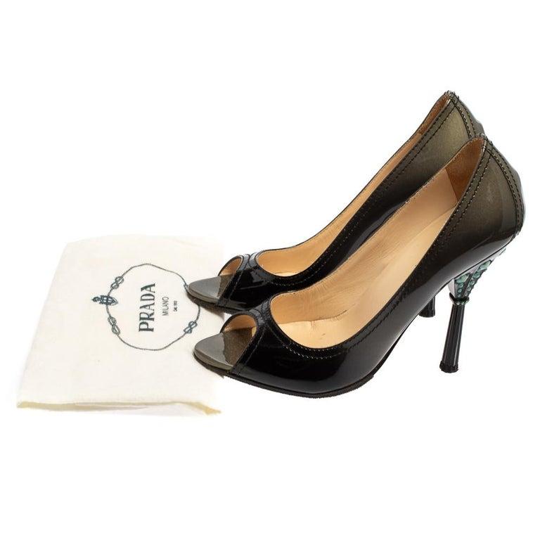 Prada Black Patent Leather Peep Toe Pumps Size 36.5 For Sale 4