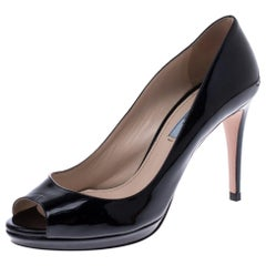 Prada Black Patent Leather Peep Toe Pumps Size 37