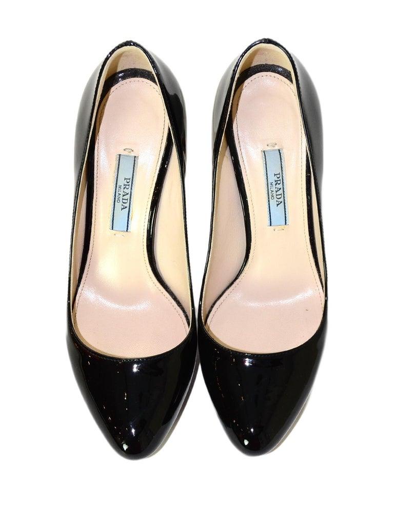 Women's Prada Black Patent Leather Platform Pumps Sz 35 For Sale