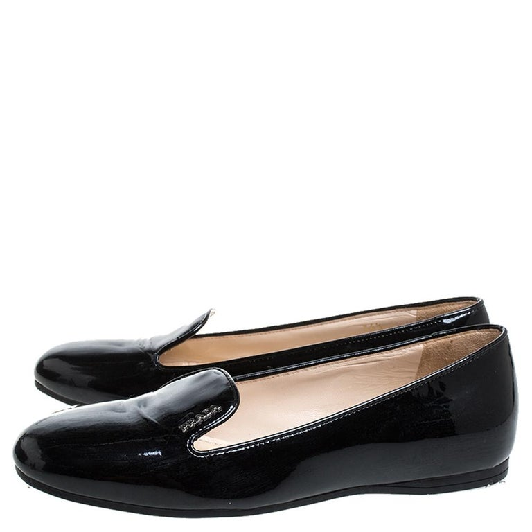 Prada Black Patent Leather Slip On Loafers Size 36.5 For Sale 1
