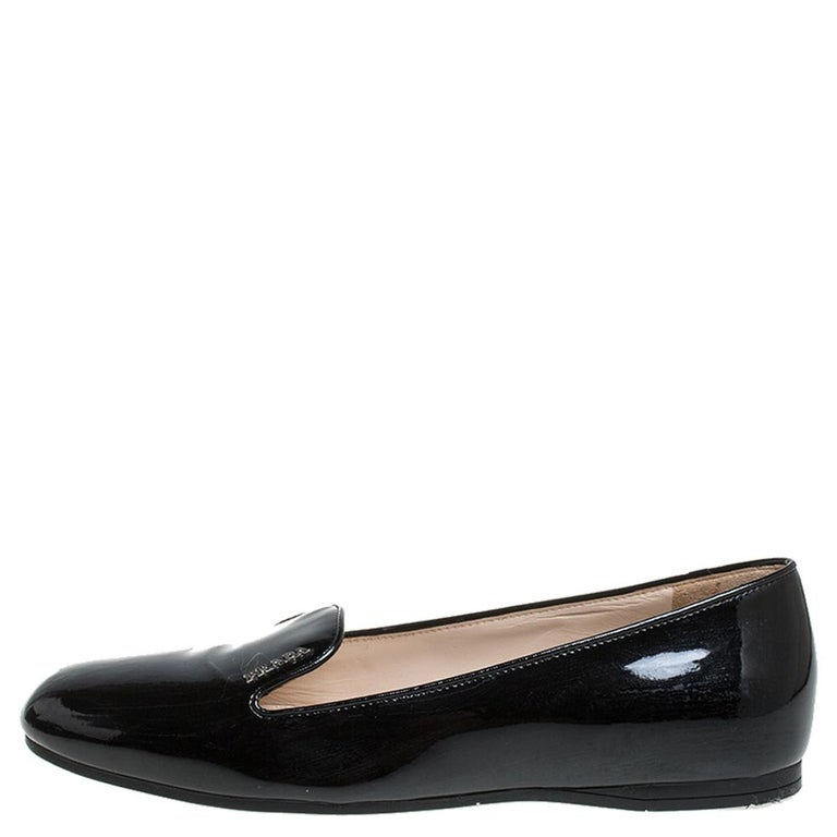 Prada Black Patent Leather Slip On Loafers Size 36.5 For Sale 3