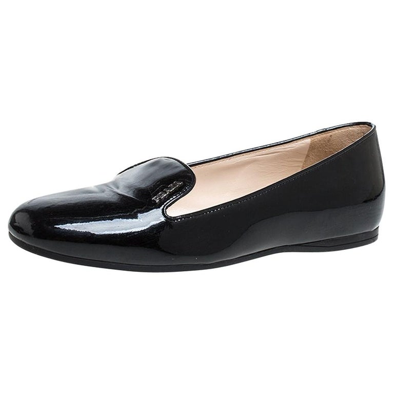 Prada Black Patent Leather Slip On Loafers Size 36.5 For Sale