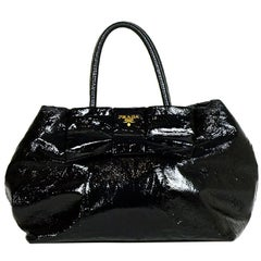 Prada Black Patent Leather Tote Bag with Bow