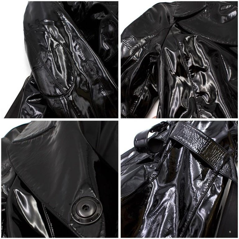 Prada Black Patent Leather Trench Coat US 4 For Sale 6