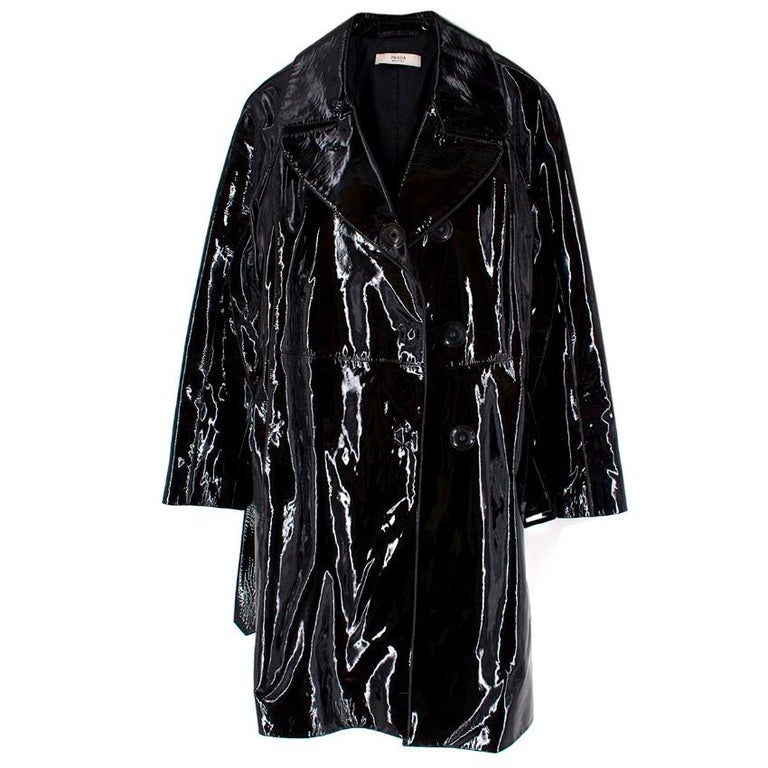Women's Prada Black Patent Leather Trench Coat US 4 For Sale